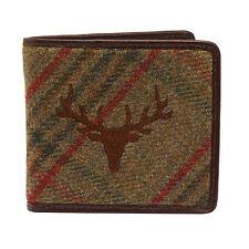 PellMell-Verde Islay Tweed Stag billetera con monedero y ribete de cuero marrón