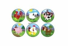 12 Farm Barn Yard Animal Stickers Kids Party Goody Loot Bag Filler Favor Supply