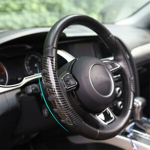Universal 2Pcs Car Interior Steering Wheel Booster Cover Carbon Fiber Non Slip