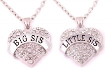 Heart Pendant Necklace Set Charm Matching Sister White Jewelry Kids Girl Gift X2