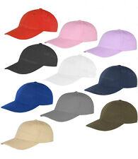 Ladies Plain Cotton Baseball Cap Adjustable Strap Promotional Peaked Hat