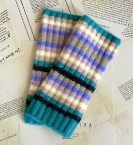 Free People Arm Warmer Fingerless Gloves Ribbed Striped Turquoise Blue Tan NEW