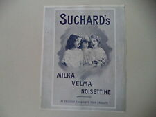 advertising Pubblicità 1911 SUCHARD'S MILKA VELMA NOISETTINE