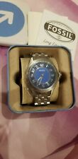 BNWT Fossil Stainless  Steel Blue Dial BQ1038 Mens Watch
