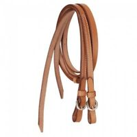 """Western Natural Leather 5/8"""" Wide Plain Split Reins with Steel Buckles"""