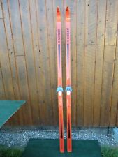 """VINTAGE Wooden 78"""" Long  Skis with Original Finish with Bindings"""