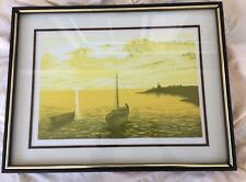 Vintage Print on Paper Sailboat in Harbor Yellow Sunset Wood Frame 19x25 signed
