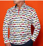 BRAND NEW CLAUDIO LUGLI SUPER CARS PRINT SATIN COTTON MEN'S SHIRT