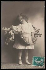 Edwardian 1910s original vintage photo postcard child girl flower vasse smile