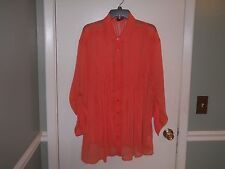 New Directions Women's Double Layer Button Front Shirt Size 3X Guava Orange NWT