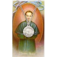 Needzo IVL Pewter Catholic Patron Saint John Bosco Medal with Holy Prayer Card
