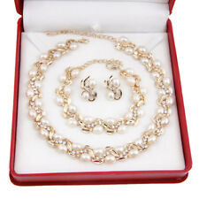 New Necklace Earrings Bracelet White Pearl Necklace 18K Gold Plated Jewelry Set