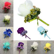 Fake Rose Groom Boutonniere Best Man Corsage Wedding Party Decor Hand Flower