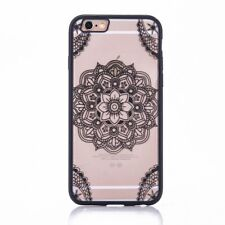 Apple Iphone 7 Plus Custodia per Cellulare Mandala Motivo Indiano Pizzo Nero
