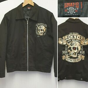 LUCKY 13 MENS QUILTED HOTROD JACKET, BLACK SIZE S SMALL UK TATTOO YOUR SOUL