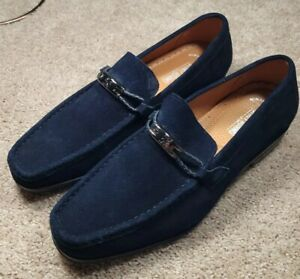 STACY ADAMS-Blue Suede Leather,  Mens Slip.On, HorseBit Casual Loafers-(10.M)