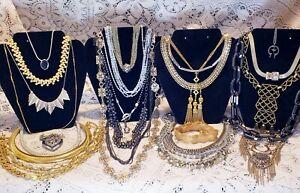 25 Piece Vintage and Modern Mixed Tone Necklace Lot - Trifari, Jenny Bird