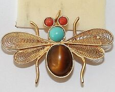 Turquoise Coral Filigree Butterfly Brooch Vintage Silver Gold Pl Tiger'S Eye