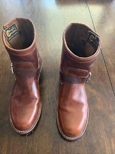 "Women's Chippewa 7"" Raynard Engineer Leather Boot Tan Size 8 Handmade In USA."