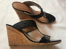 Women's Tommy Hilfiger black high heel cork sandals/shoes sz 9 1/2M! Good Cond!