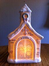 "Precious Moments White Ceramic Lighted Sugartown CHAPEL Village Carolers 9"" tall"