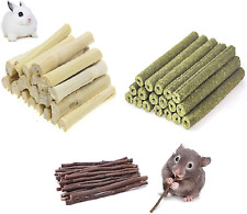 Ali York Hamster Chew Toys, Natural Wood Snack Toys-3 Pack, Apple Sticks Timothy