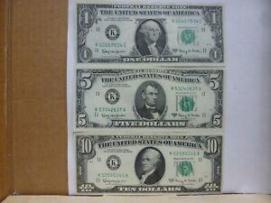 1963-A DALLAS Federal Reserve (3) Note Lot {$1.-$5.-$10.}--Nice & Crispy