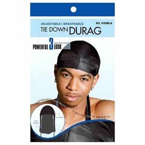Black Breathable Adjustable Skull TIE DOWN SPORT DURAG #4769Blk Free P&P