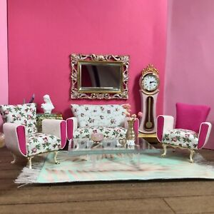 1:16 Dollhouse miniature living room set sofa and armchairs - Pink Roses