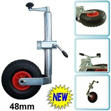 Jockey Wheel for Trailer Caravan 48mm Shaft with Pneumatic Tyre and Clamp Steel