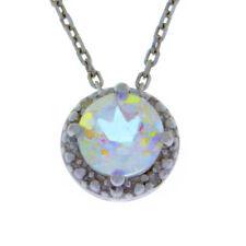 1 Ct Mercury Mist Mystic Topaz & Diamond Round Pendant .925 Sterling Silver