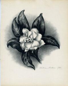 """GARDENIA,"" AN ORIGINAL SIGNED LITHOGRAPH BY VICTORIA HUTSON HUNTLEY"