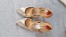 Riemchen Pumps Damen High Heels Schuhe gold beige Schlangenmuster Größe 38,5