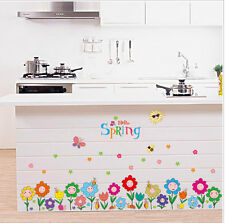 Colourful Flowers Removable Wall Stickers Vinyl Kids Room Mural Decor Skirting