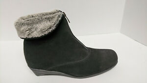 La Canadienne Evitta Ankle Boots, Black Suede, Women's 10 Extra Wide