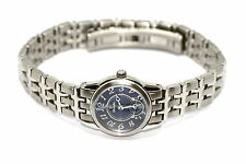 WOMENS SLIM NIVADA SWISS WATCH ROUND SILVER STAINLESS STEEL BLUE DIAL W NUMBERS