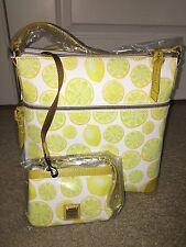 NWT DOONEY & BOURKE Limone RUBY Crossbody & Med Wristlet LEMONS Bag Yellow White
