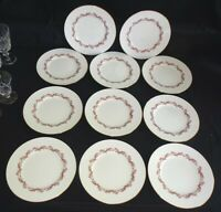 "Minton England Laurentian Set of 11 Salad Plates 7 5/8"" Pink Bone China"