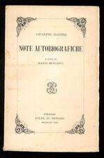 MAZZINI GIUSEPPE NOTE AUTOBIOGRAFICHE LE MONNIER 1943 I° EDIZ RISORGIMENTO