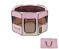 """45"""" Dog Kennel Pet Fence Puppy Soft Playpen Exercise Pen Folding Crate Pink New"""