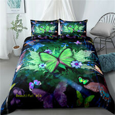 Green Butterfly Floral Single/Double/Queen/King Bed Quilt Doona Duvet Cover Set