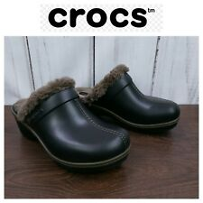 Crocs Womens Size 8 Dark Brown Faux Fur Lined Rubber Warm Clogs Mules Slip On