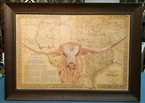 1876 TEXAS CATTLE TRAILS AND TERRITORY  MAP FRAMED  - LONGHORN EDITION