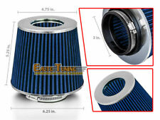 "BLUE 3"" Inches Inlet 76mm Cold Air Intake Cone Dry Type Filter SB SC"