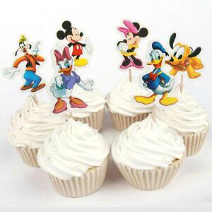24pcs Disney Mickey & Minnie Enfants Fête Toppers Enfants Cupcake Décoration