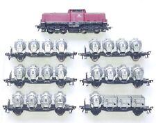 Fleischmann HO 1/87 DB BR V-100 Medium Diesel Locomotive + 6 CONTAINER WAGON Set