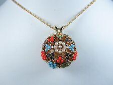 "Sandstone & Swarovski Crystals 24"" 0994 La Scala Gold Plated Round Ball Pendant"