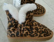 NWT Children's Place SIZE 7 Toddler Girls BROWN LEOPARD Boots FAUX FUR #251416