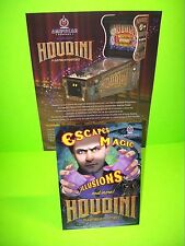 American Pinball HOUDINI Original Flipper Game Pinball Machine Flyer + Post Card