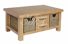 Solid Wood Chunky Pine Small Coffee Table With 2 Baskets